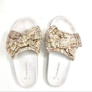 Primark Tan and White Tweed Bow Slides size 39/8